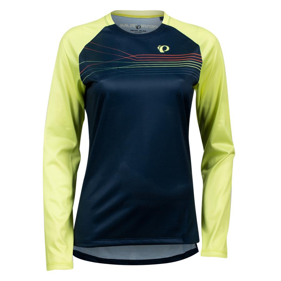 Femme Pearl Izumi Summit Long sleeve Top Sunny Lime/Navy Radian | Maillots