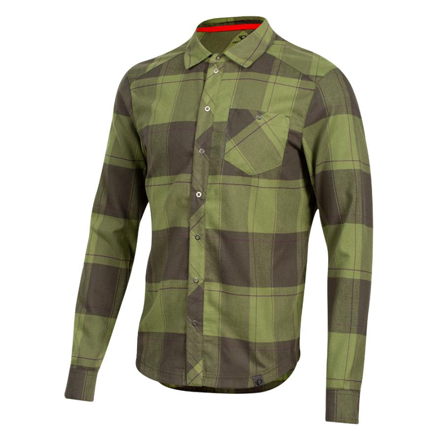 Homme Pearl Izumi Rove Long Sleeve Shirt Forest/Willow Plaid | Tee-Shirts Et Maillots À Manches Courtes
