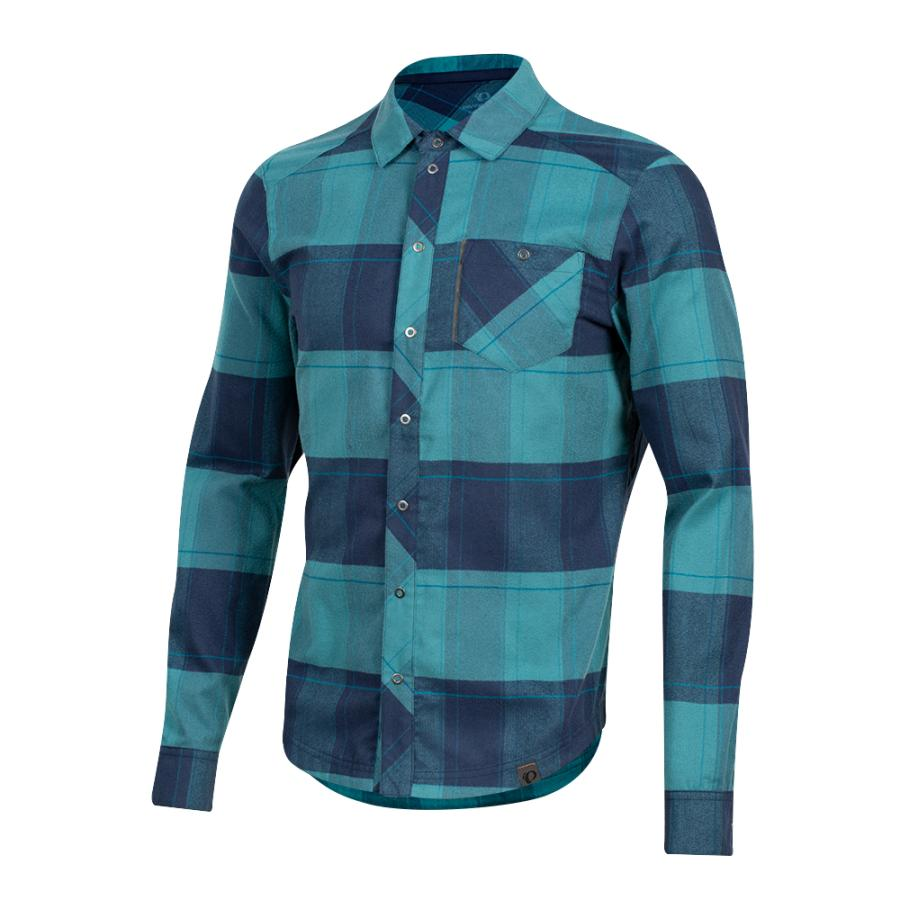 Homme Pearl Izumi Rove Long Sleeve Shirt Navy/Hydro Plaid | Tee-Shirts Et Maillots À Manches Courtes