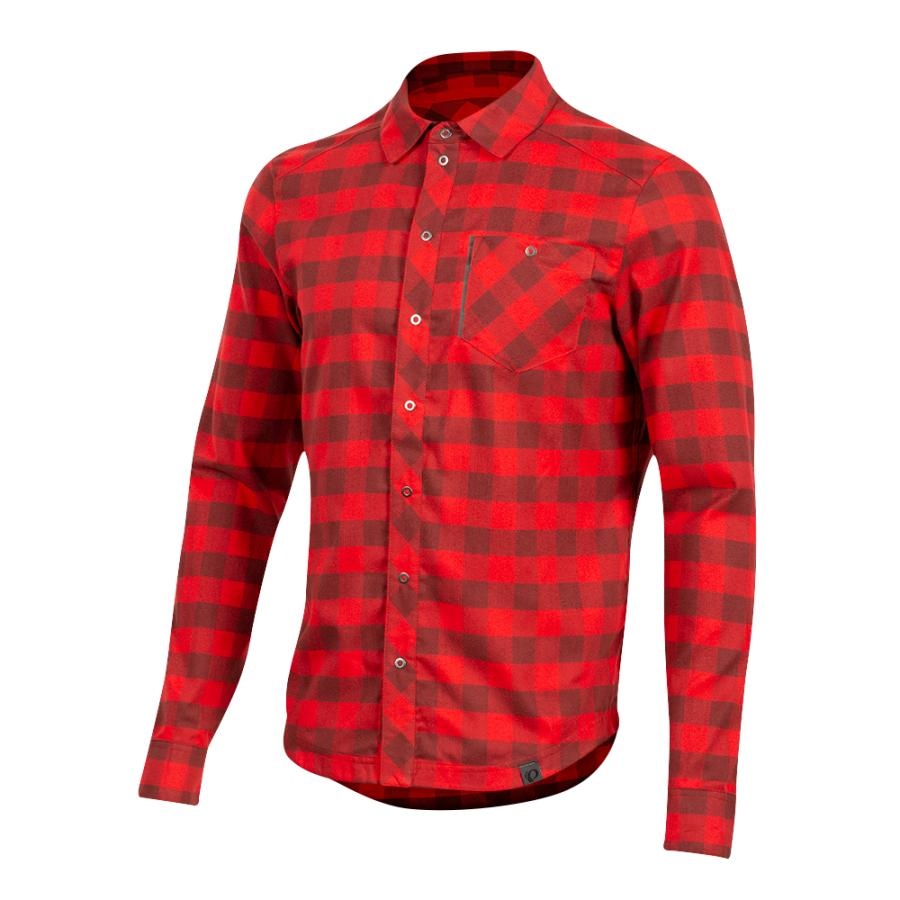 Homme Pearl Izumi Rove Long Sleeve Shirt Torch Red/Russet Plaid | Tee-Shirts Et Maillots À Manches Courtes