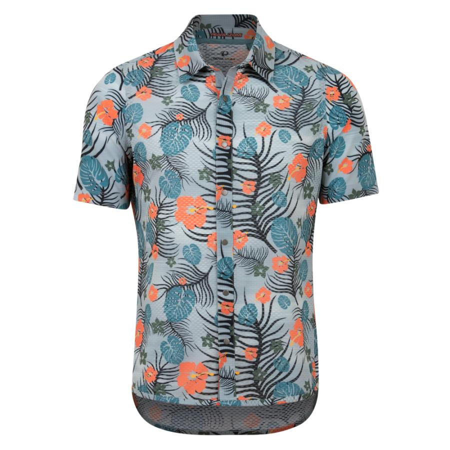 Homme Pearl Izumi Summit Button Up Shirt Dawn Grey/Sunset Palm | Tee-Shirts Et Maillots À Manches Courtes